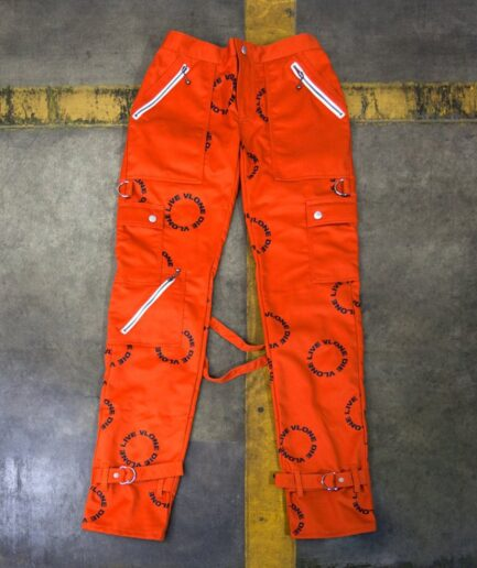 Live Vlone Die Vlone Circle Orange Bondage Pants