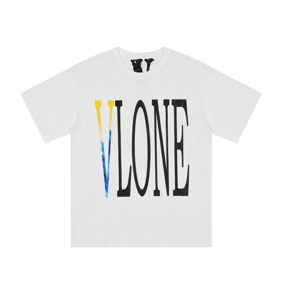 Vlone Printed Die dye White Tee Front side