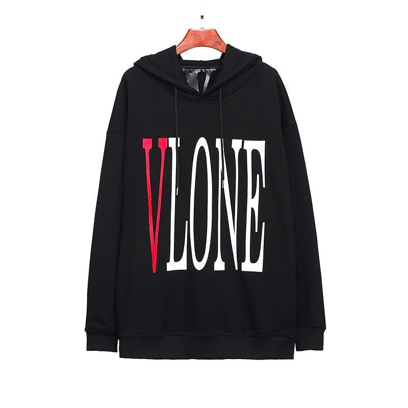 Vlone LOGO Printed Hip Hop Black Hoodies