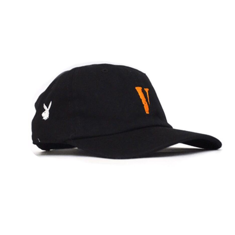 Vlone vintage v letter dad hat Black