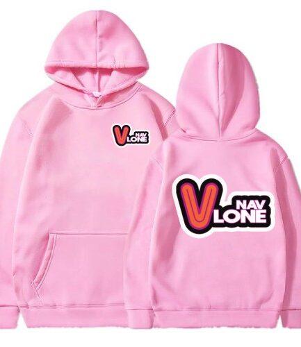 Vlone Nav Hip Hop Unisex Pink Hoodie