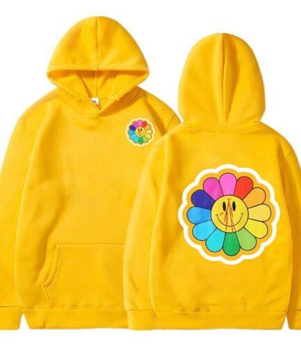 Vlone Sunflower Murakami Takashi Yellow Hoodie
