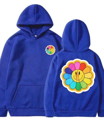 Vlone Sunflower Murakami Takashi Blue Hoodie
