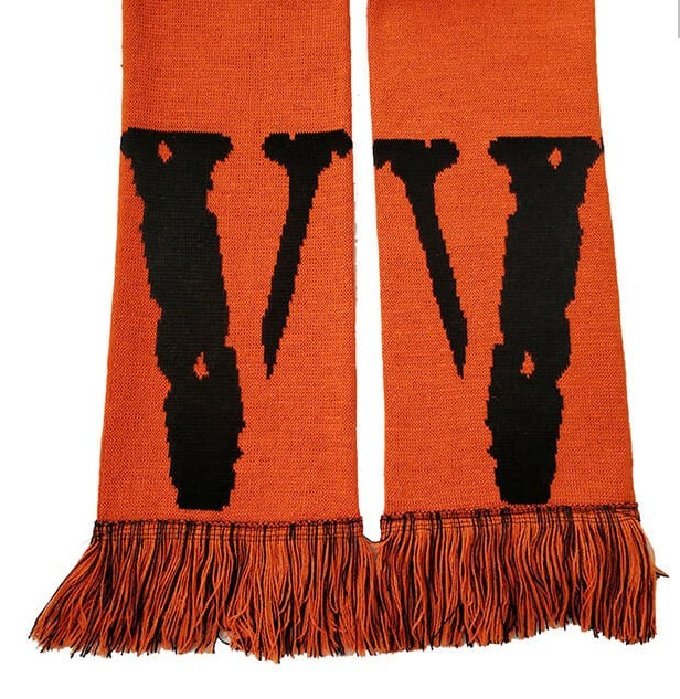 Vlone Scarf With Friend Text And Logo
