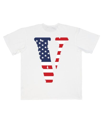 vlone friends t-shirt in white color with usa flag print