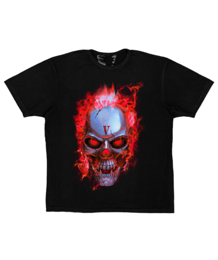 SKULLY RED FLAME T-SHIRT - BLACK