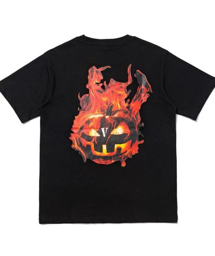 Vlone-Halloween-Flaming-Pumpkin-Tee-Black-Back