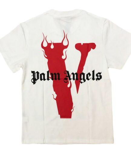 Vlone-X-Palm-Angels-V-Staple-Red-White-Tee