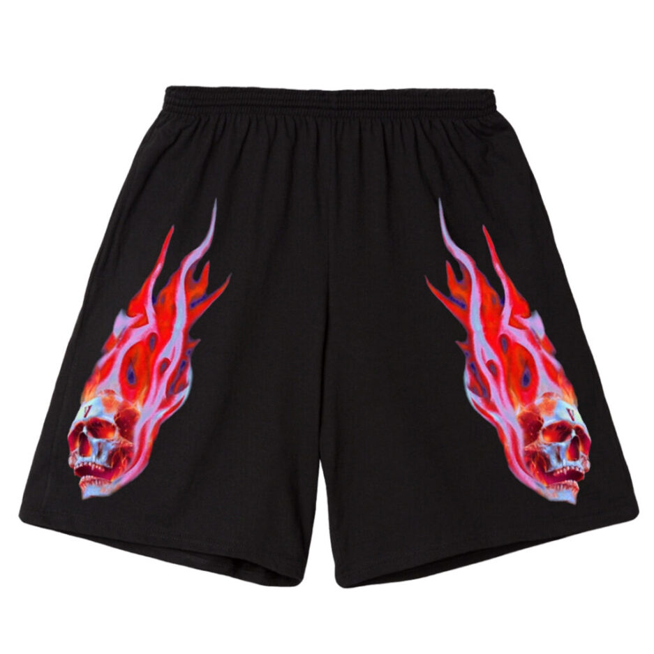 Vlone-Skully-Red-Flame-Shorts-Black-Front-1024x1024