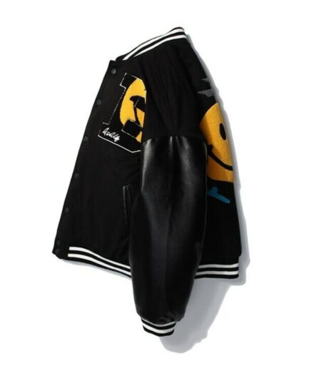 A$AP Rocky AWGE Smiley Kaptial Acid Varsity Jacket - Black (Side)