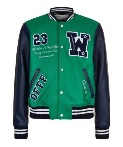 Off-White Eagle Logo Leather Sleeve Varsity Jacket