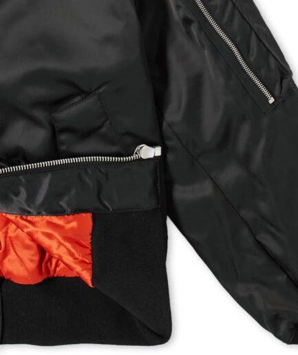 Palm Angels Patch Logo Varsity Jacket - Black (Detail 1)