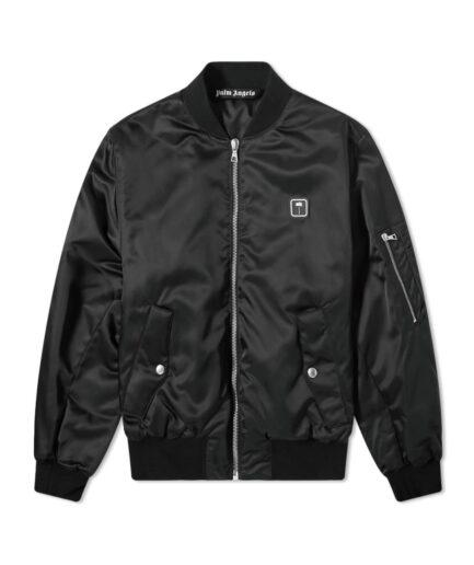 Palm Angels Patch Logo Varsity Jacket - Black (Front)